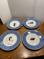REED & BARTON Penguin Blue Holiday Plate Set Of 4 Faith Family Feast Fun