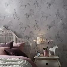 Arthouse Camarillo Light Grey Horses Wallpaper with Silver Glitter 667300