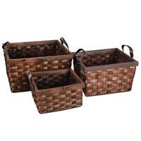 Rectangular Handwoven Wicker Rattan Storage Basket Box Tote Organizer 3Pcs