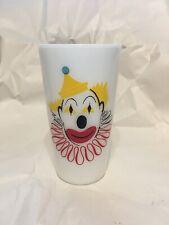 """Hazel Atlas Milk Glass Clown Glasses Tumblers 5"""" Tall"""