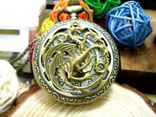 Gothic Dragon Tri Head Bronze Pocket Watch Game of Thrones Golden Dial Free Gift
