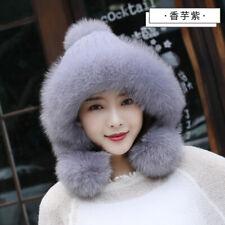 100% Reak Genuine Knit Mink Fur Hat with Fox Fur Brim Three Balls Ear Muffs Hat