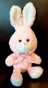 KellyToy Textured Bunny Rabbit Pink Pastel Plush w/ Checkered Bow Q042