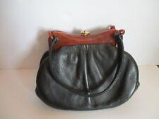 Vintage purse with Brown Plastic / Bakelite Handles