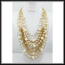 CHAIN LONG FAUX GOLD  PEARLS WEDDING BRIDAL LAYERS NECKLACE SET pearl EASTER