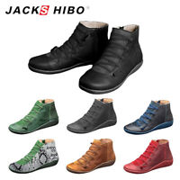 Womens Casual Leather Boots Lace up Side Zip Vintage Soft Flat Heel Ankle Shoes