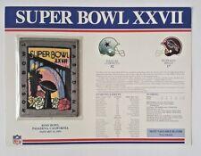 Super Bowl Xxvii Stat Card W/ Patch Cowboys Vs Bills Willabee & Ward