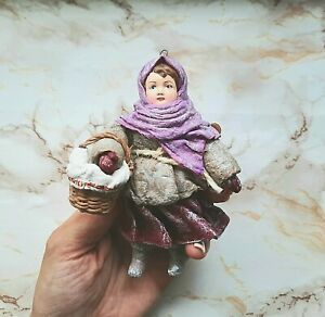 Spun Cotton Hanging Ornament. A Girl with a Basket. Handmade Christmas toy.