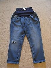Maternity Ankle Girlfriend Jeans NEW Size 14 Stretch Distressed Belly Band