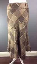 Per Una Brown Wool Blend Midi Lined A Line Skirt Uk 10 R Vgc