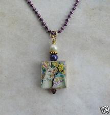 Bunny Rabbit Necklace Pendant Charm Art Easter Egg Gold Purple Spring Flowers