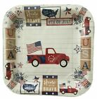 """NWT Patriotic Paper Plates 4th of July 12 Disposable Plates 9""""x9"""" Square NEW"""