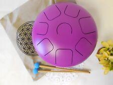 """WuYou 12"""" Steel Tongue Drum Tank Drum, FREE Bag & 2 sticks, Healing sound Purple"""
