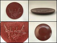 Japanese Wooden Sencha Obon Tray Vintage Lacquer Ware Small Size Plum W115
