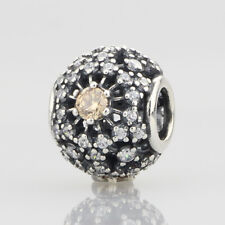 European Pandora Silver Charm inner radiance, golden-colored & clear cz
