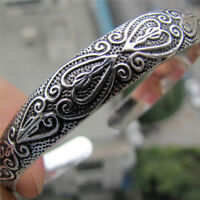 Retro Boho Silver Plated  Wristband Carve Heart Bangle Cuff  Bracelet JewelryU_X