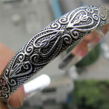 Retro Boho Silver Plated  Wristband Carve Heart Bangle Cuff  Bracelet Jewelry EB