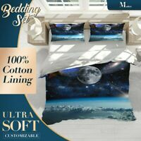 Moon Stars Galaxy Nature Space Blue Quilt Cover Cotton Doona with 2x Shams