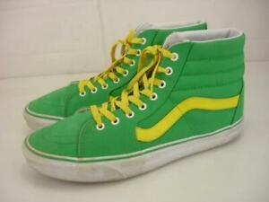 Men's 11.5 Vans Customs SK8-Hi Green Yellow Shoes Sneakers Off The Wall High Top
