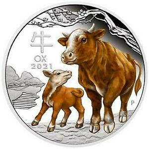 COW COIN 2021 Year Of Ox One Troy Ounce Silver Coin New Year