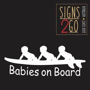 "BABIES ON BOARD STICKER (Triplets) ""Vinyl Cut Decals/Sticker"" Made In Australia!"