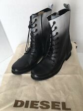 *NEW* Diesel Womens The Wild Land Arthik B/W Leather Lace-Up Boots 7.5 MSRP $325