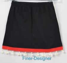 MICHAEL SIMON girls skirt mini black knit red white pom poms A line Size 6 NEW