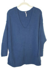 Free People for Urban Outfitters Blue V-Neck Boxy Wool Blend Sweater XS