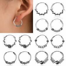 Handmade Geometric Circle Silver Earrings Stud Hoop Men Women Party Retro Gift