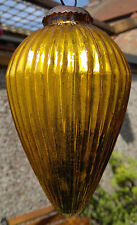 Antique Gold Mercury Glass Kugel Ribbed Drop Christmas Ornament Heavy Glass 6.5""