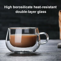 Double Layer Wall Clear Glass Heat Resistant Tea Coffee Mug Borosilicate Cup UK