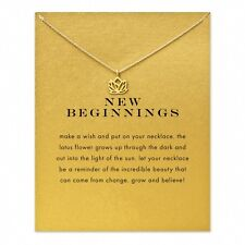 JB10 New Beginnings Lotus Pendant Necklace Clavicle Chains