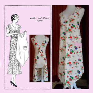 Vintage 1920's Women's Mail Order Reproduction Apron Sewing Pattern #910 Sz L.