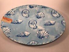 "Tommy Bahama Scallop Seashell Blue Melamine 19"" x 15"" Oval Platter New Free Sh"