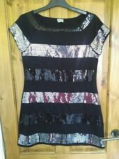 Oasis Sequin Striped Party Dress size 12