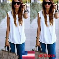 US Women Sleeveless Shirt Ladies Loose Summer Casual Blouse Tops Plain T-shirts
