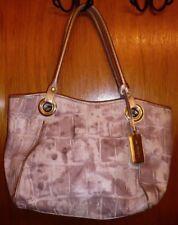 ARCADIA Gray Textured Leather Shopper Bag Handbag Tote w/ Metallic Silver Trim