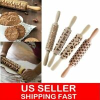 Christmas Wooden Rolling Pin 3D Carved Embossing Roller for DIY Cookies Biscuit