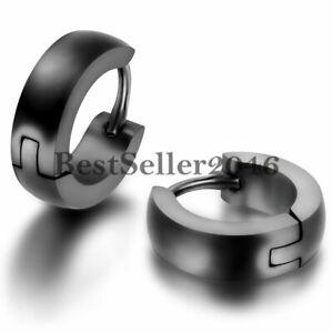 Black Stainless Steel Plain Cambered Stud Huggie Hinged Hoop Men Stud Earrings