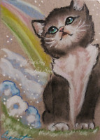 ACEO Black Tuxedo Cat Flower Pet Animal Artwork Pastel Painting Original Gift