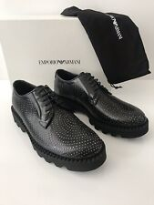 NIB $1095 Emporio Armani Men's Black Studded Leather Lug Sole Laced Shoes 10 US