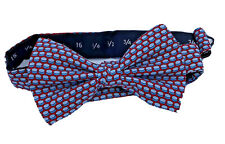 Vineyard Vines boys red abstract print bow tie silk made in USA adjustable