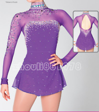 Girl Women latin Rumba Ice Skating Dress Competition customize purple