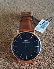Daniel Wellington Brown Leather Black Dial Rose Gold Tone Men's Watch 40mm