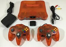 Nintendo 64 N64 Fire Orange Console Cleaned Tested Working 2 Cont. + Jumper Pak