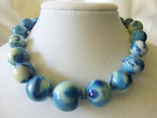 INCREDIBLE Vintage Strand of Graduated BLUE/WHITE Marbled Bead Necklace 13EN194