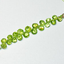 Rare Arizona Peridot Faceted Coin Briolette Beads 3 inch strand