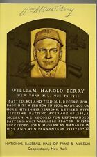 BILL TERRY SIGNED AUTOGRAPHED HOF PLAQUE JSA GOLD