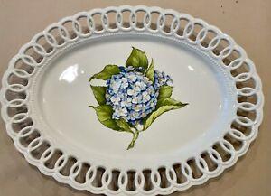 Mud Pie Oval Platter With Hydrangea