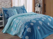 King Blanket Egyptian Throw Bedspread Sofa Bed Cloth Christmas Pine Cone Blue